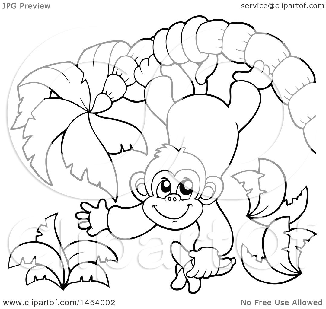 1080x1024 Clipart Of Blacknd White Lineart Happy Monkey Hanging