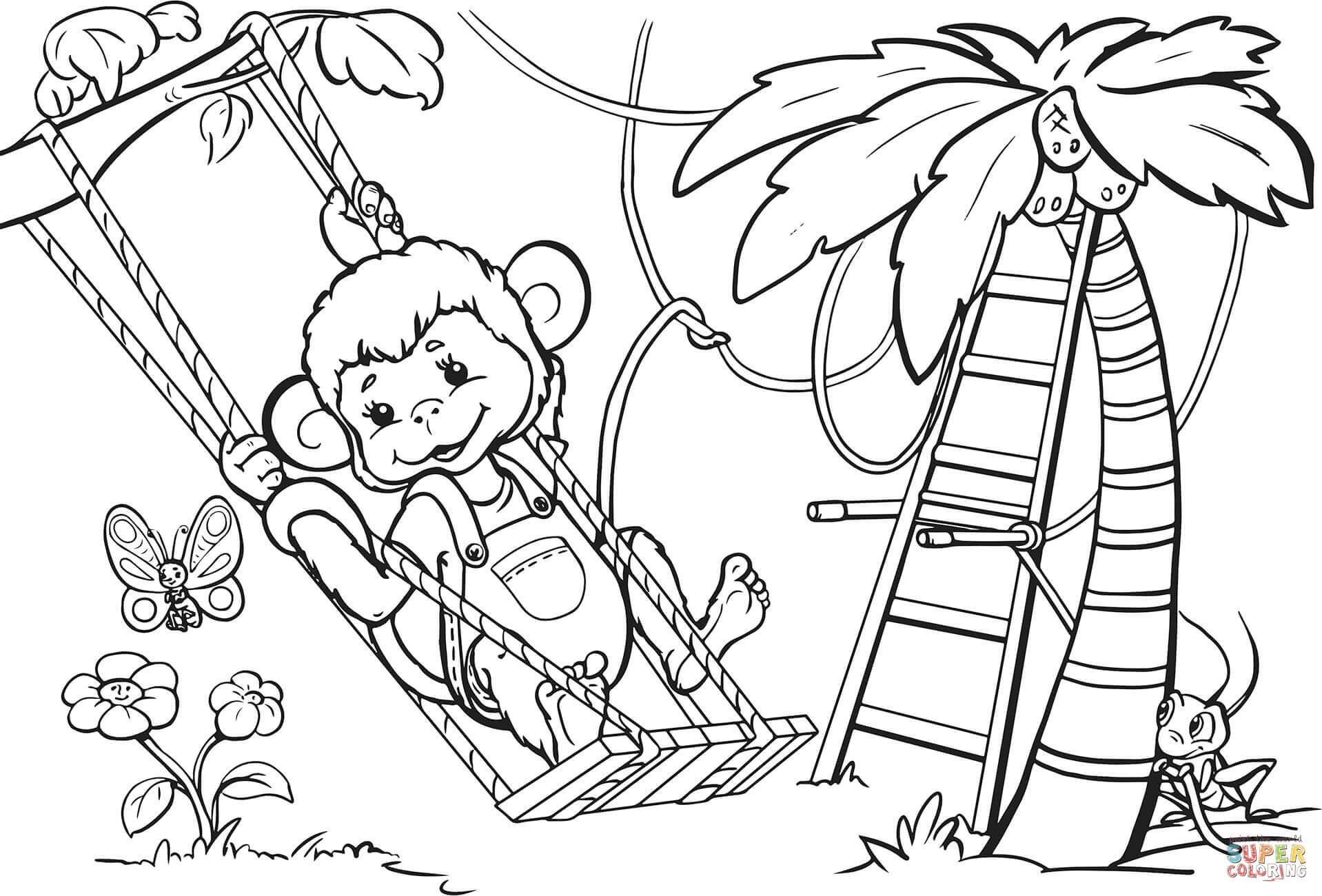 1918x1300 Coloring Page Of A Monkey Free Draw To Color