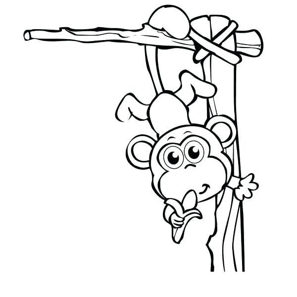 600x600 Elegant Monkey Coloring Pages Online Cute Hanging From Tree A Free