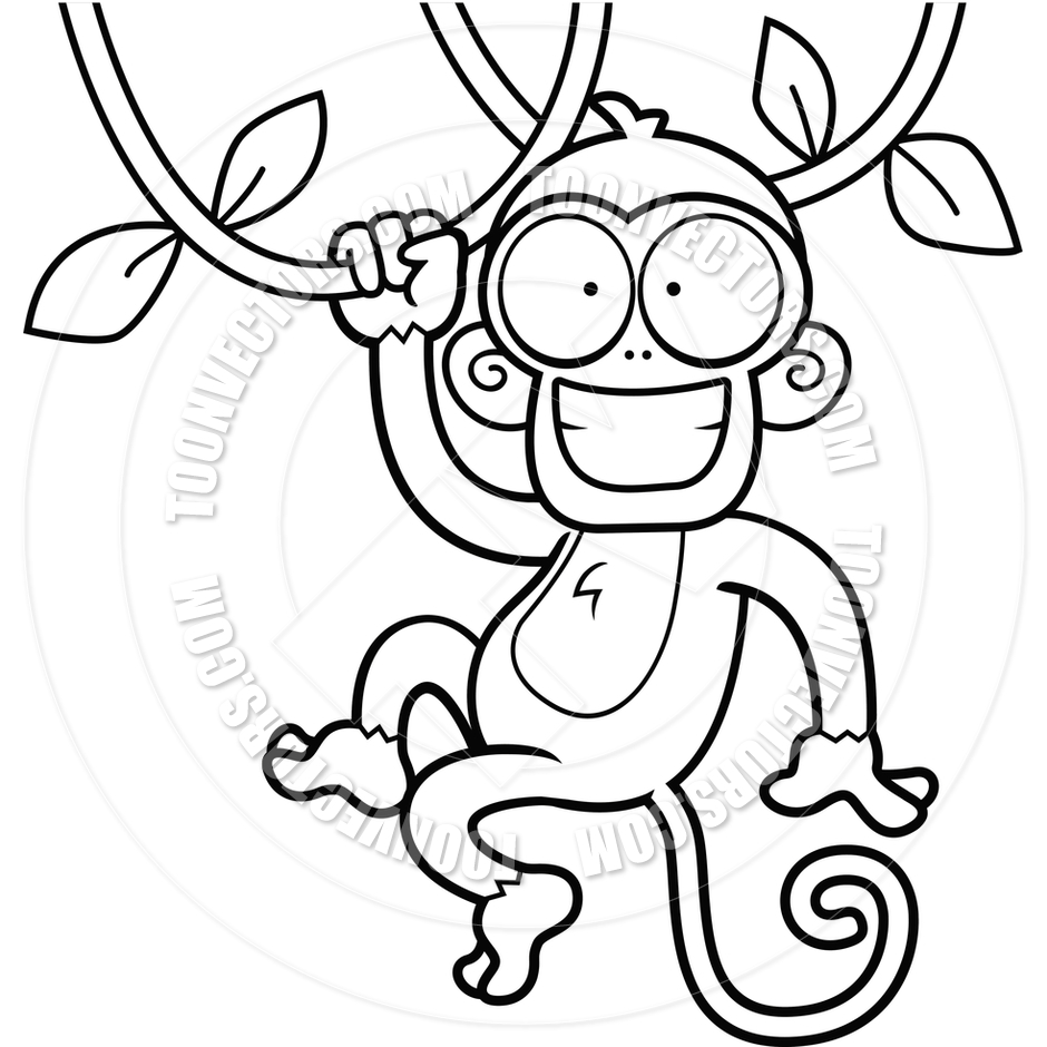 940x940 Monkey Swinging From Tree Clipart Black And White