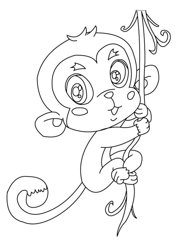 595x842 Squirrel Monkey Hanging On Tree Coloring Page