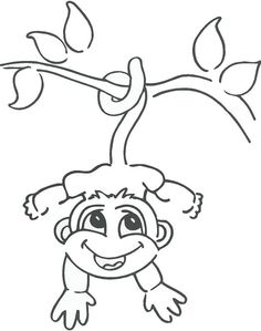 236x299 Monkey In Hanging On The Tree Branch. How To Draw A Monkey Hanging