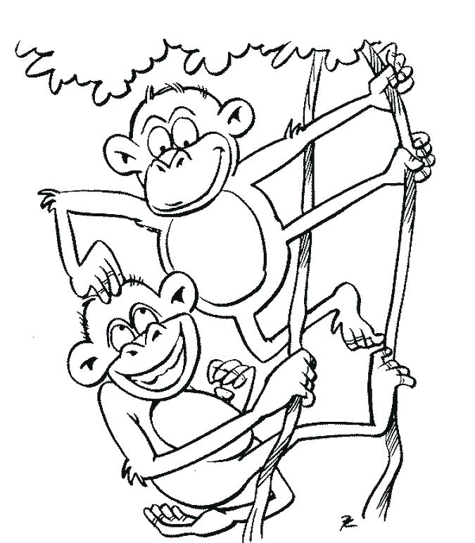 675x771 Best Monkey Coloring Pages New Monkeys 5 Little Page Free Cartoon