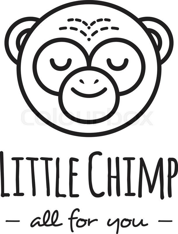 610x800 Vector Funny Cartoon Monkey Head Logo. Line Style Chimp Logotype