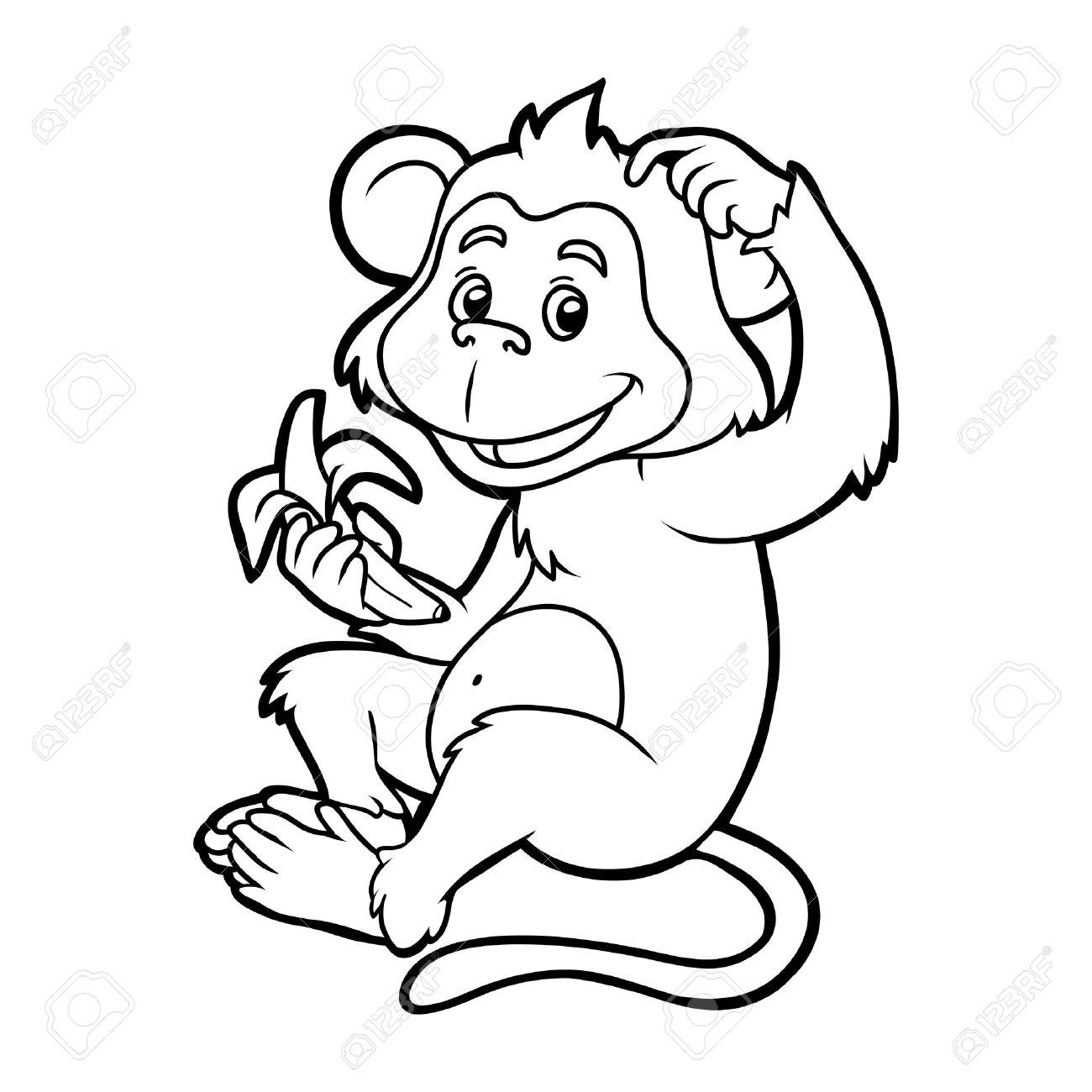 Beautiful 1300x1300 Coloring Book For Children Monkey With A Banana Royalty On Line