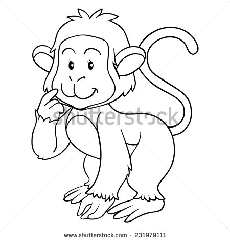 Monkey Line Drawing At Getdrawings Com