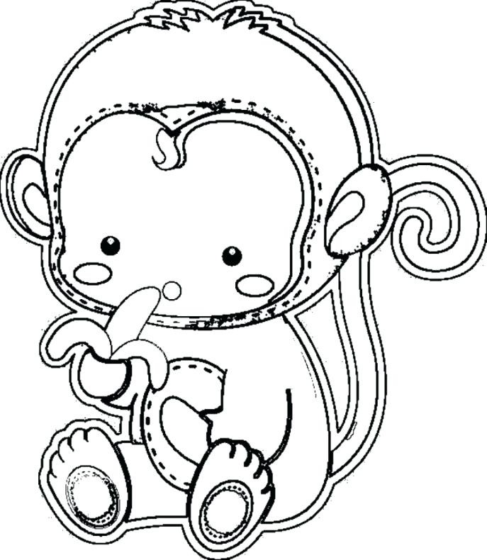 687x790 Monkey Coloring Pages Monkey In A Tree Baby Monkey Coloring Pages