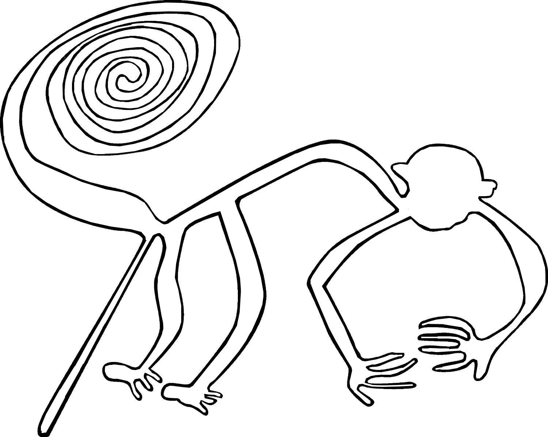 Elegant 1500x1194 Nazca Plateau Contour Line Drawing Monkey TattoosPiercings