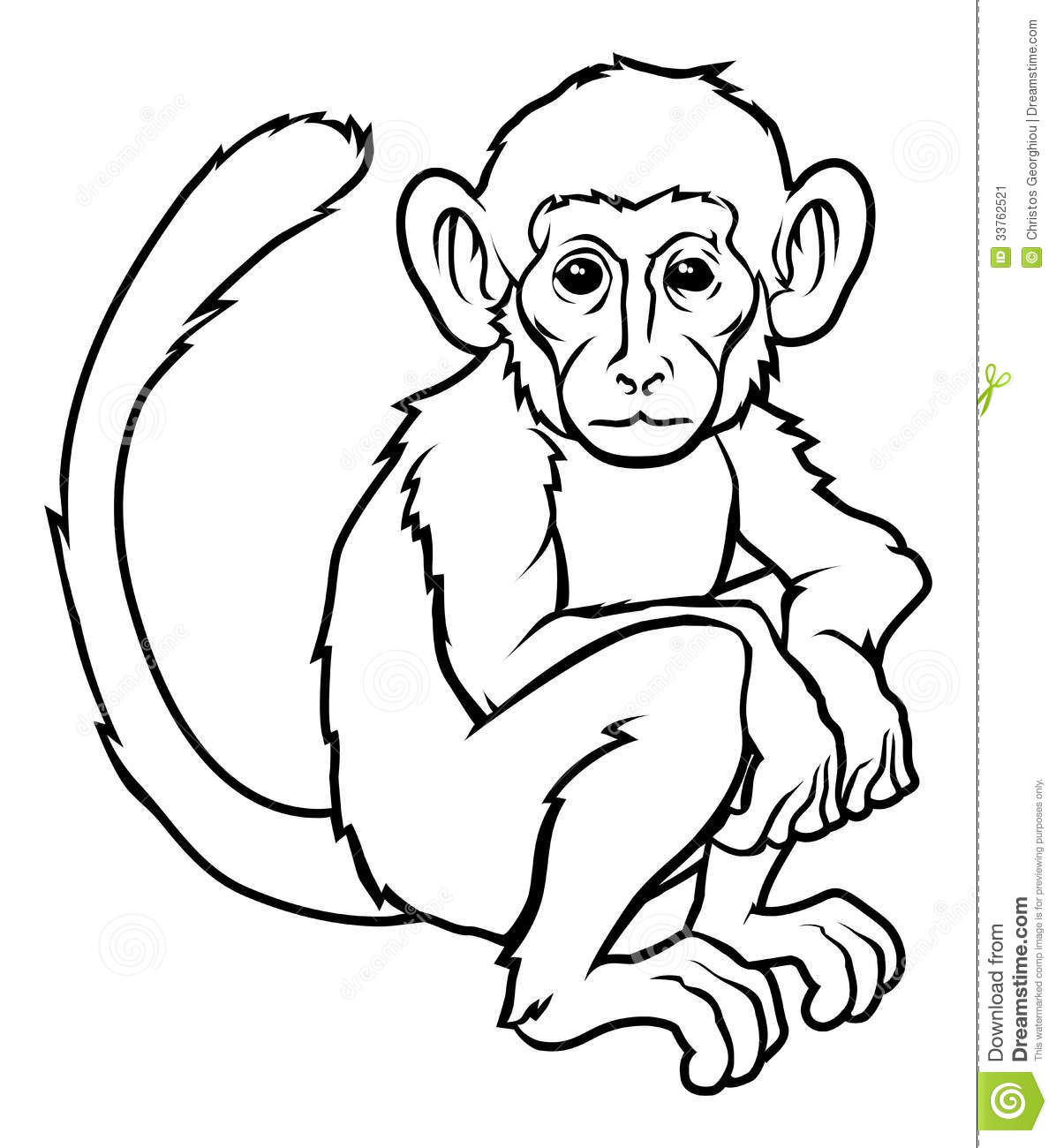Monkey Line Drawing at GetDrawings | Free download