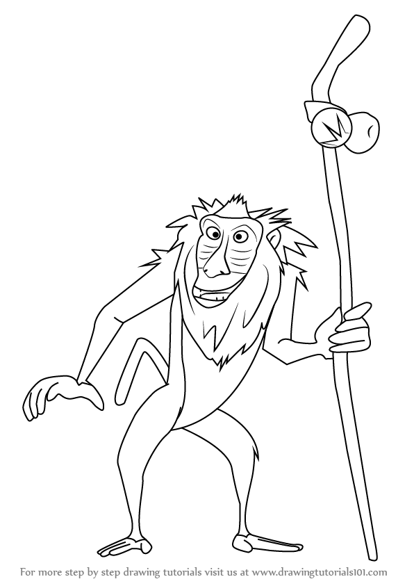 596x843 Learn How To Draw Rafiki From The Lion King (The Lion King) Step
