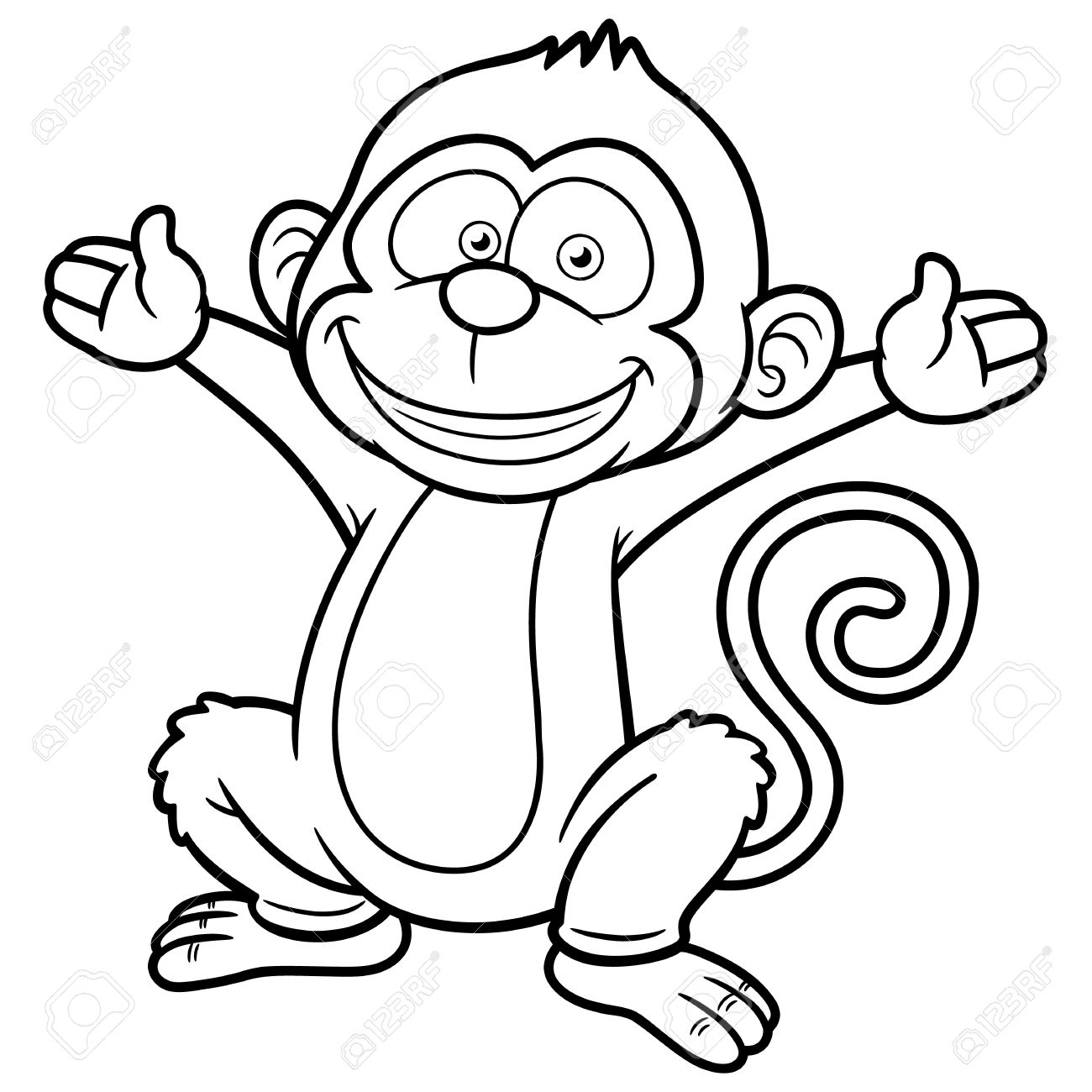 1300x1300 Monkey Outline Clipart