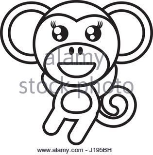 315x320 Monkey Cartoon Drawing Animal Vector Icon Illustration Stock