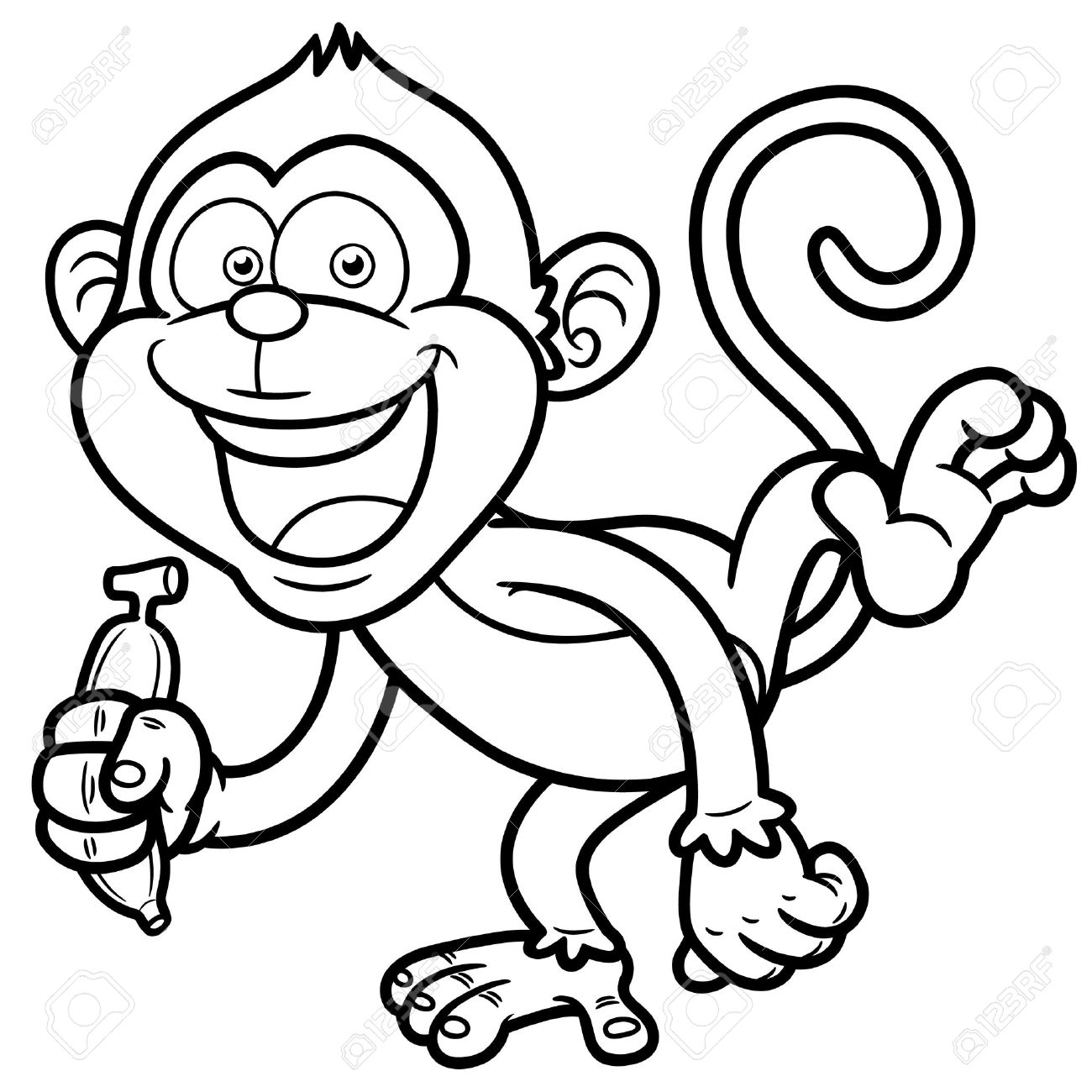 1300x1300 Monkey With Banana Clipart Outline