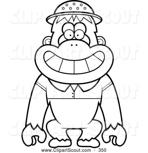600x620 Clipart Of A Black And White Coloring Page Outline Of A Orangutan