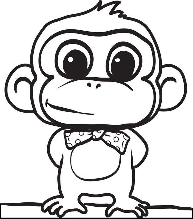 616x700 Drawn Baby Animal Cute Monkey