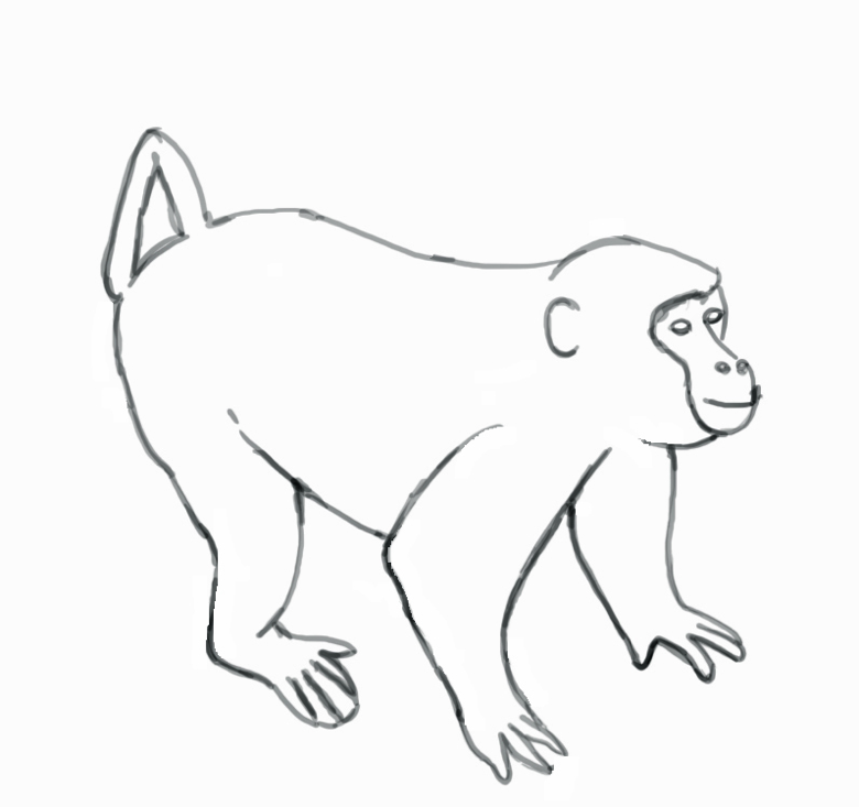 780x733 Howler Monkey Drawing
