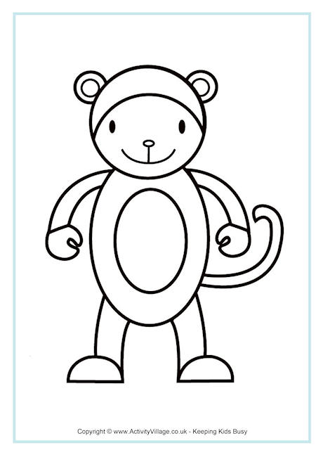 460x650 Monkey Colouring Pages