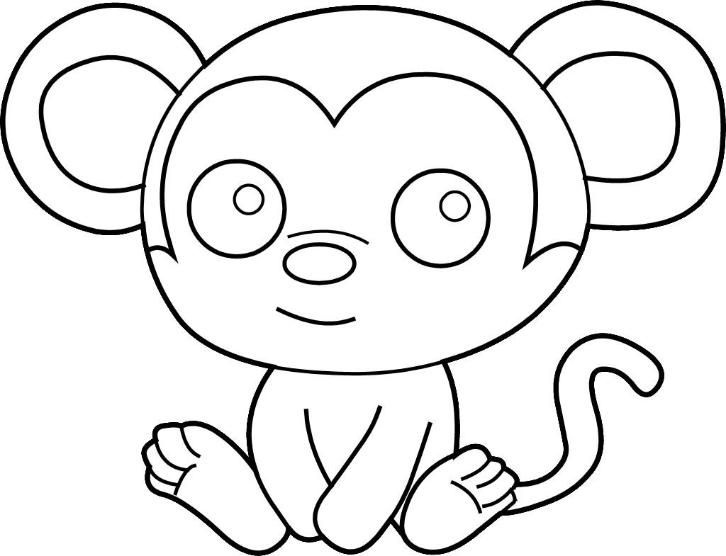 1024x785 Simple Monkey Coloring Page Simple Colorings