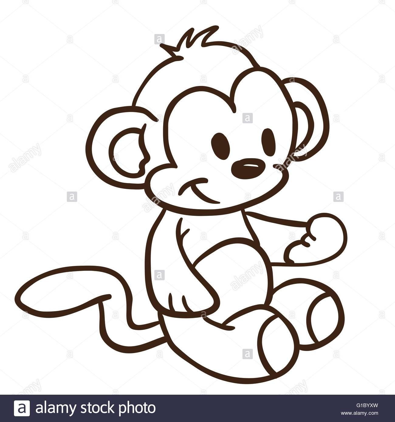 1300x1390 Simple Black And White Monkey Cartoon Stock Vector Art