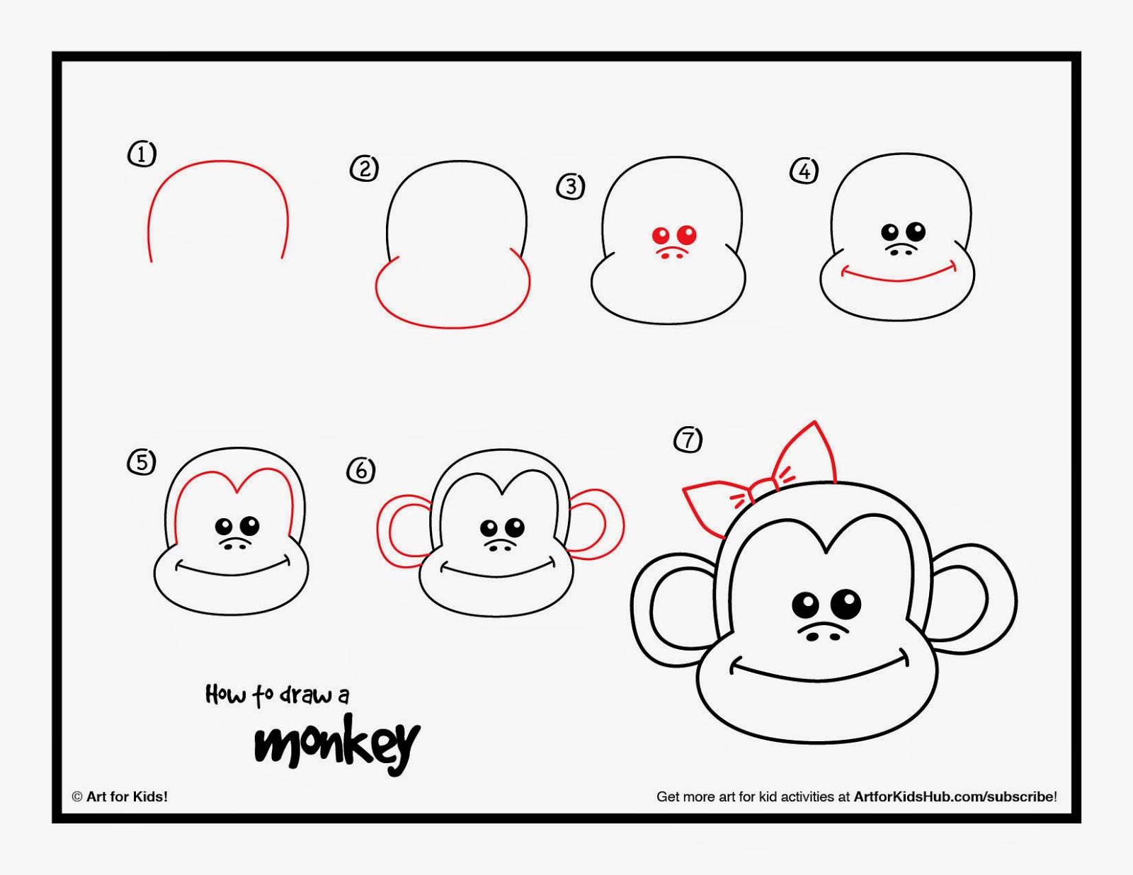 1600x1236 Monkey Step By Step Drawing Drawings Of Monkeys Step By Step Kids