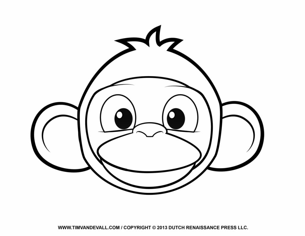 1024x791 Drawing Of A Monkey Face Printable Monkey Clipart Coloring Pages