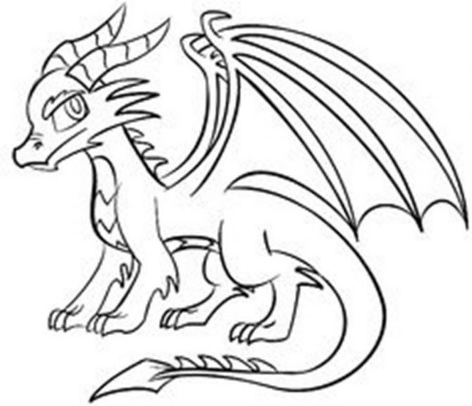 671x577 Coloring Pages Simple Dragons To Draw Easy Dragon Drawings