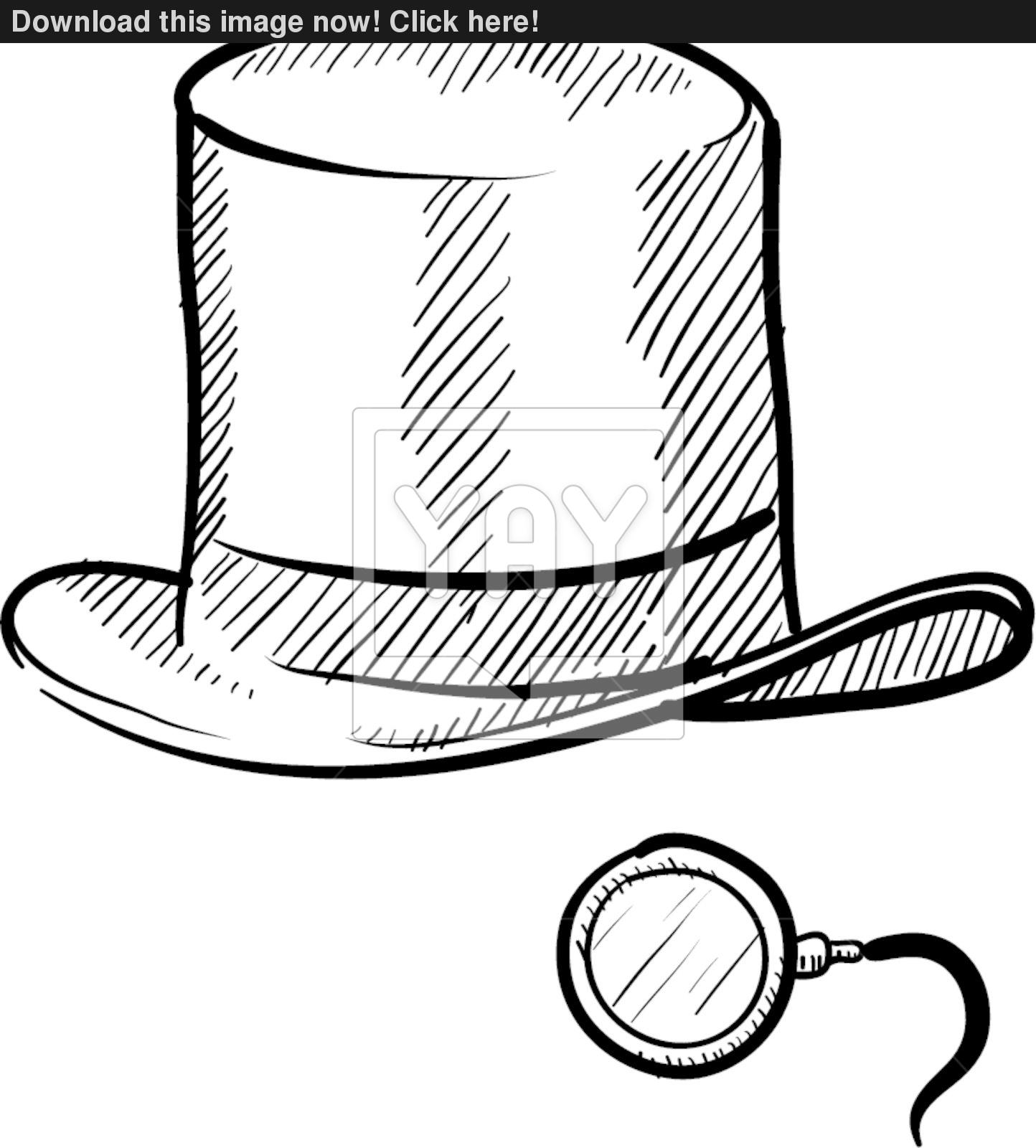 1444x1600 Top Hat And Monocle Sketch Vector