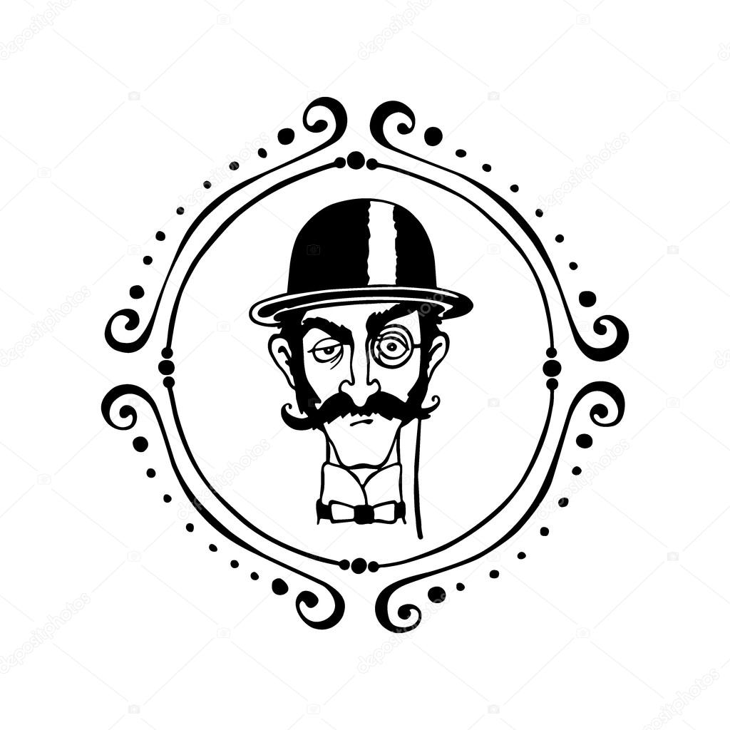 1024x1024 English Man. Gentleman In Bowler Hat, Monocle And Smocking Tobac