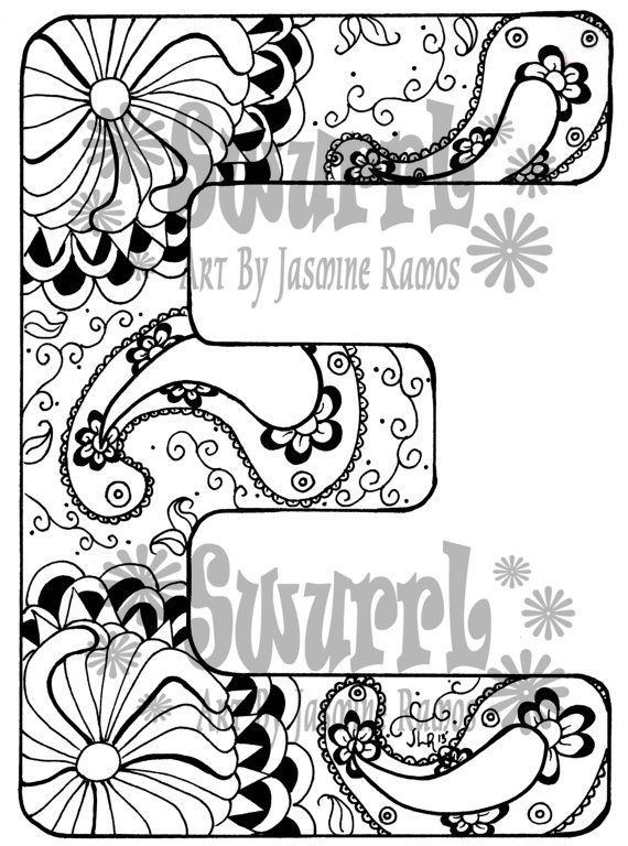 570x768 Instant Download Coloring Page Monogram Letter E By Swurrl On Etsy