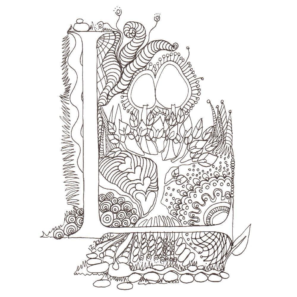 1000x1000 Monogram, Initial, Colour Me In Illuminated Letters