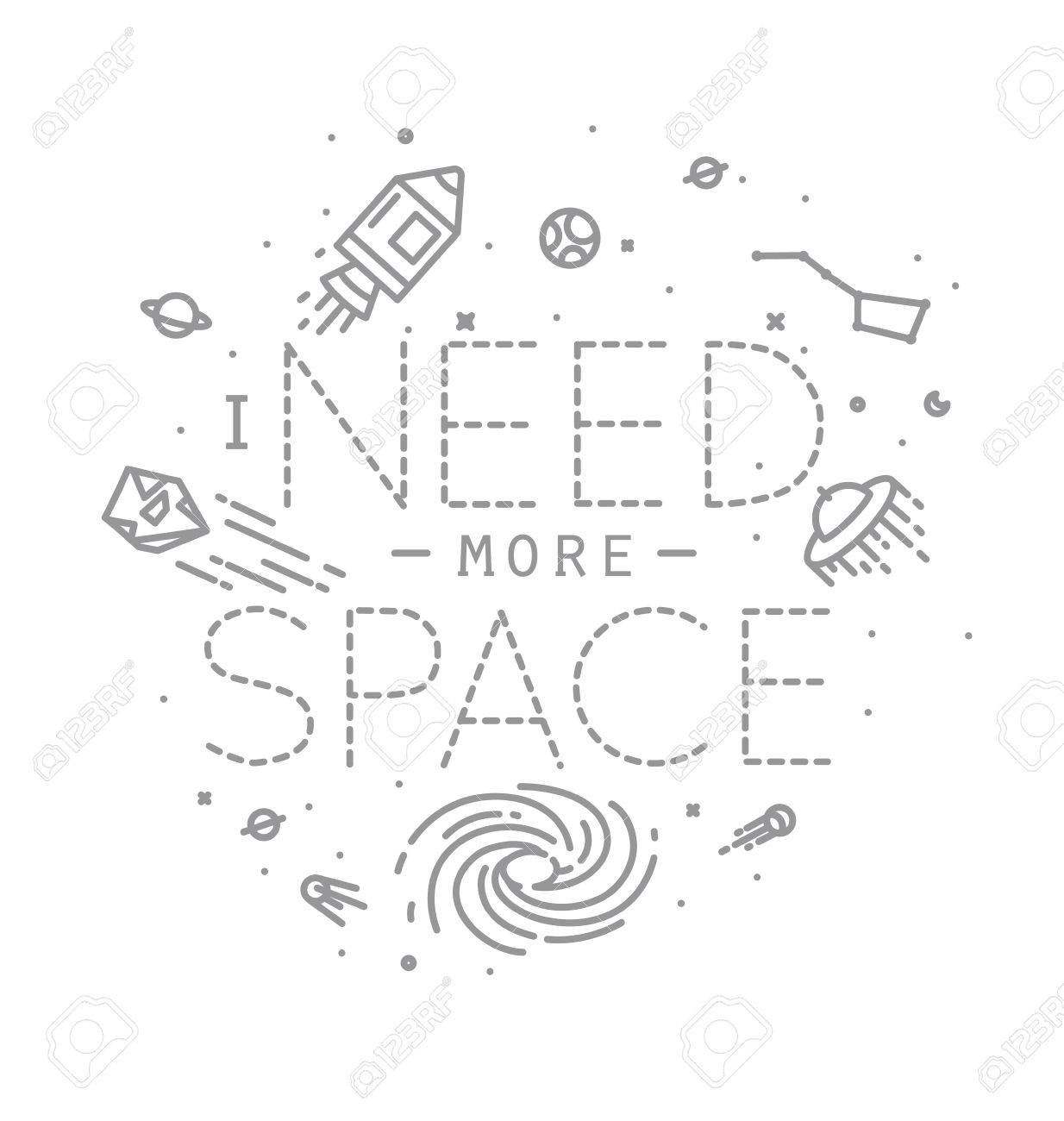 1234x1300 Space Flat Monogram Lettering I Need More Space Drawing