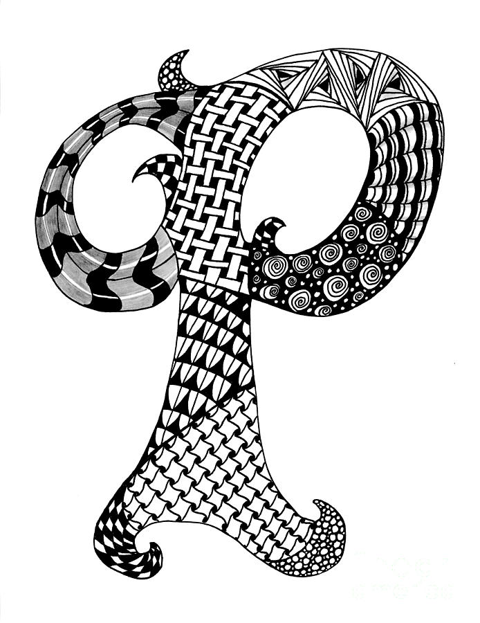 694x900 Zentangle Letter P Monogram In Black And White Drawing Zentangle