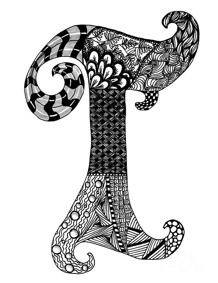 694x900 Zentangle Letter T Monogram Drawing Zentangle