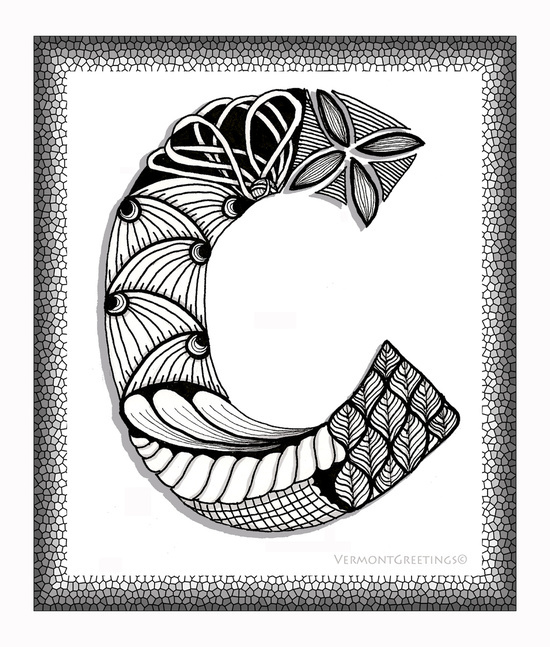 550x647 Art, Black, C, Doodle, Drawing, Illustration, Letter, Monogram
