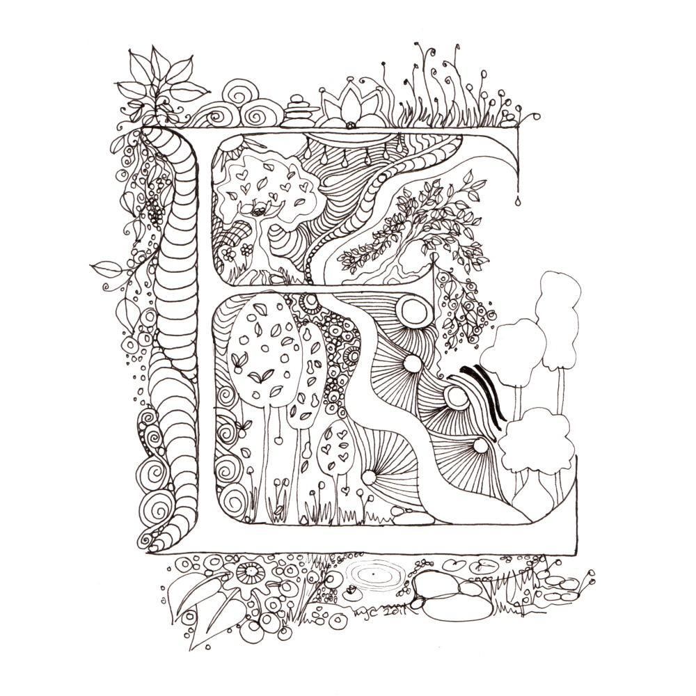 1000x1000 Cute Idea. Monogram, Initial, Colour Me In Illuminated Letters