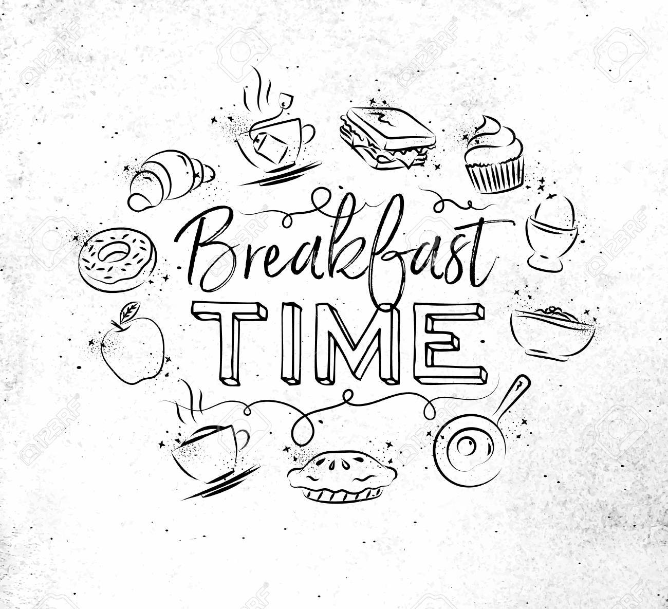1300x1185 Breakfast Time Monogram With Food Icon Drawing On Dirty Paper
