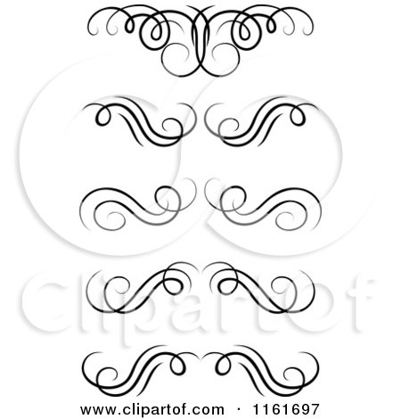 450x470 Clipart Of Black And White Swirl Monogram Design Elements