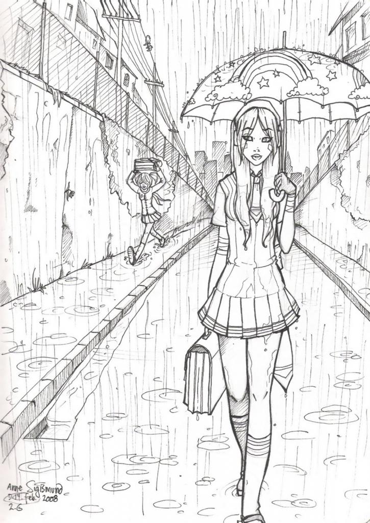 725x1024 Drawing Of Rainy Season Rainy Day Sketch Crafthubs