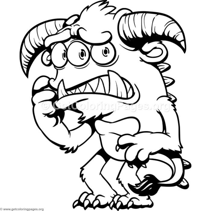 700x700 Funny Cartoon Worried Monster Coloring Pages