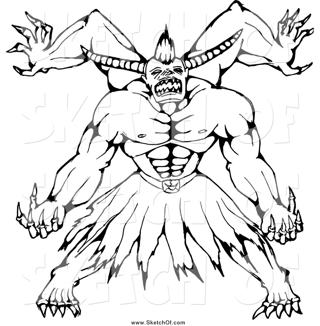 1024x1044 Drawing Of A Black And White Sketched Horned Monster By Patrimonio