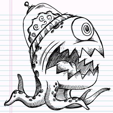 449x450 Notebook Doodle Sketch Alien Monster Drawing Illustration Art