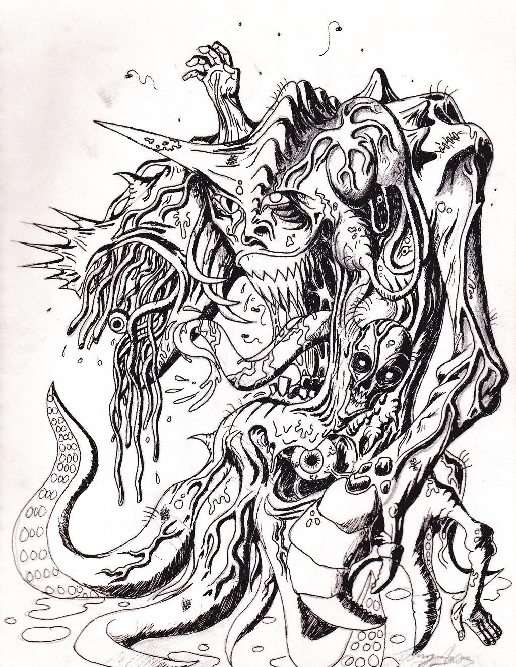 1024x1323 Old Monster Drawing By Toekneearrows