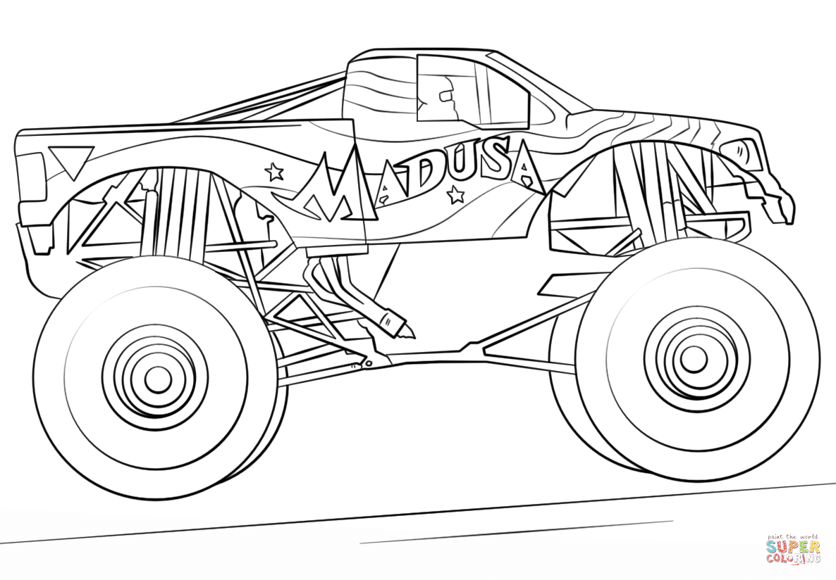 1186x824 Coloring Pages Monster Truck Drawings Madusa Page