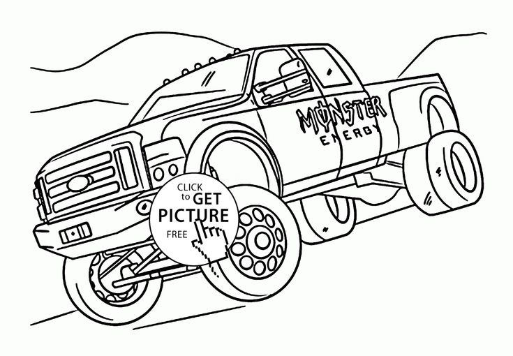 735x510 Monster Energy Truck Coloring Page For Kids, Transportation