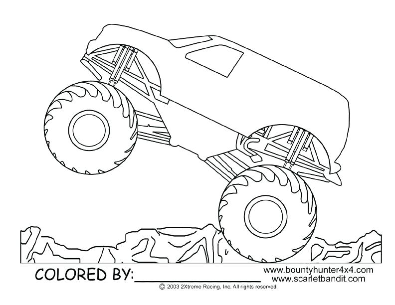 792x612 Monster Truck Colouring Template
