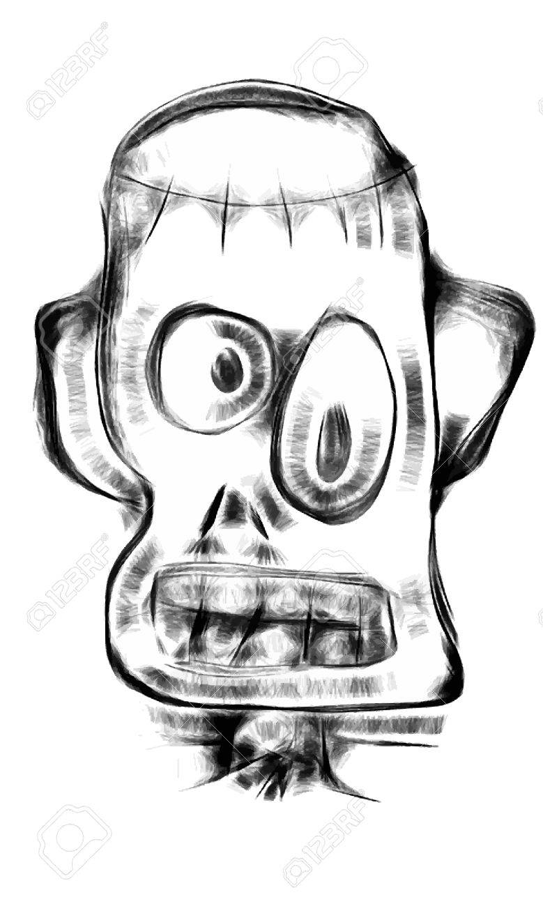 779x1300 Doodle Frankenstein Monster Face In Cartoon Style Royalty Free