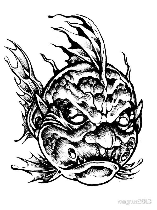 600x800 Fish Face Monster 2013 Bw Stickers By Magnus2013 Redbubble