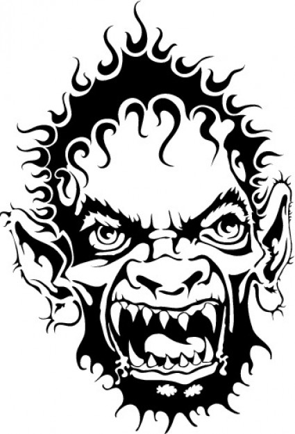 425x626 Horrible Monster Face Vector Clip Art Vector Free Download