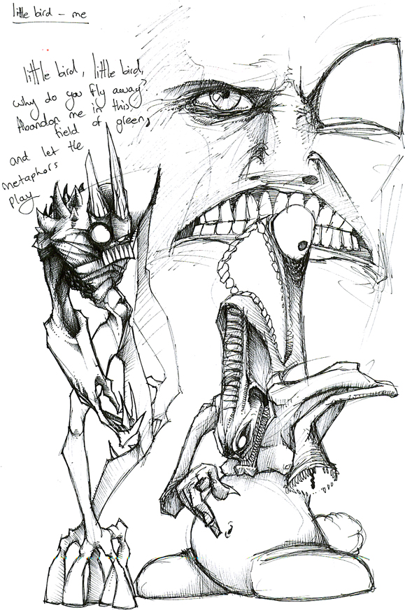 579x871 Monster Sketches + A Face By B33lz3bub