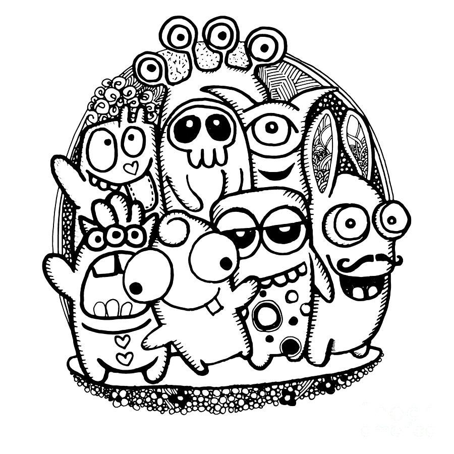 900x900 Hand Drawn Hipster Doodle Monster Collage Background Digital Art